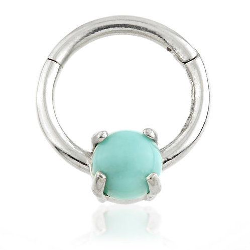 14ct Gold Natural Turquoise Daith Ring