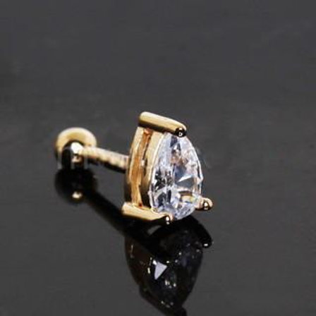 14Kt Yellow Gold Prong Set Teardrop Cartilage Earring