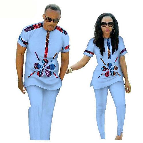 Elegent Fashion Style African Cotton Plus Size Couples Suit (Women+men) XS-6XL