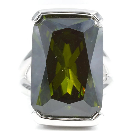 Oversized Emerald Cut Olivine CZ Silvertone Fashion Ring