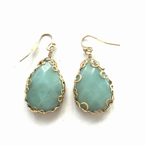 Amazonite and Gold Fashion Earrings