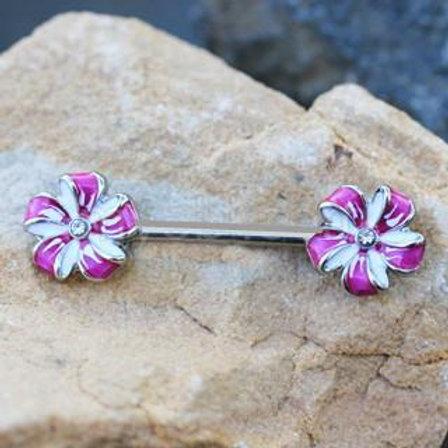 316L Stainless Steel Purple Flower Pinwheel Nipple Bar