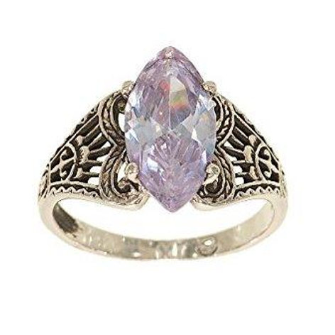 Filigree Marquise Lavender Stone Antique Style Setting Ring