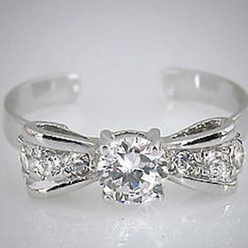 925 Sterling Silver Bow Tie Toe Ring - TRV001