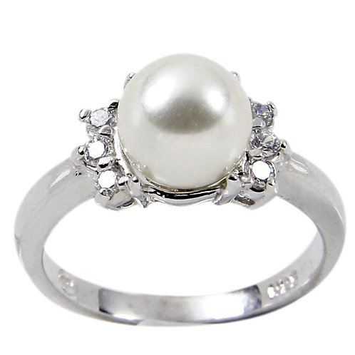 8 Mm Sterling Three Round Clear Stones Glass Base Pearl Ring