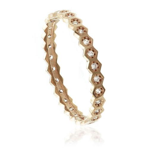 9ct Rose Gold Crystal Hexagon Stacking Ring
