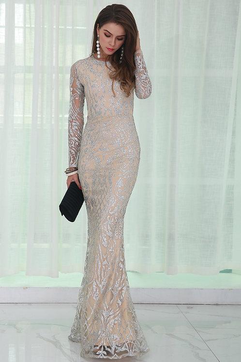 Silver Glitter Evening Dress