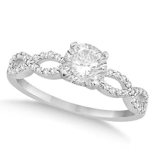 Twisted Infinity Round Diamond Engagement Ring 14k White Gold (0.50ct)