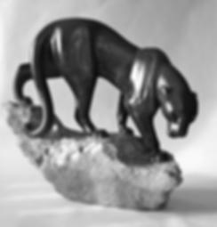 PANTHERE BLACK SPRINGSTONE DE LA PIERRE A LA CHAIR  SCULPTEUR ART ANIMALIER FRANCE