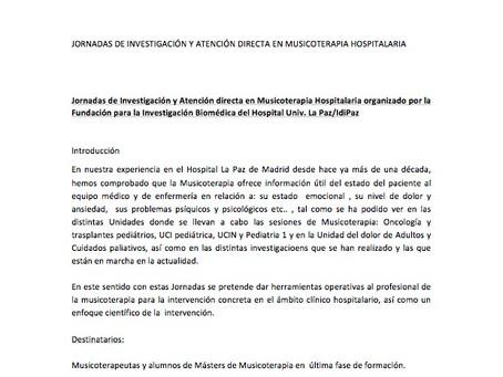 JORNADAS DE INVESTIGACIÓN Y ATENCIÓN DIRECTA EN MUSICOTERAPIA HOSPITALARIA