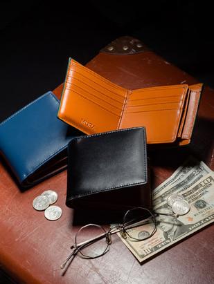 スプリット&カーボン二つ折り財布