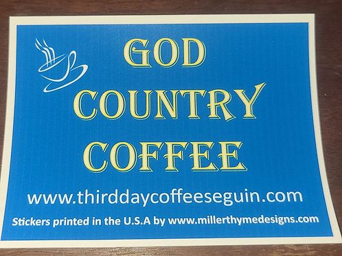 God Country Coffee vinyl Stickers