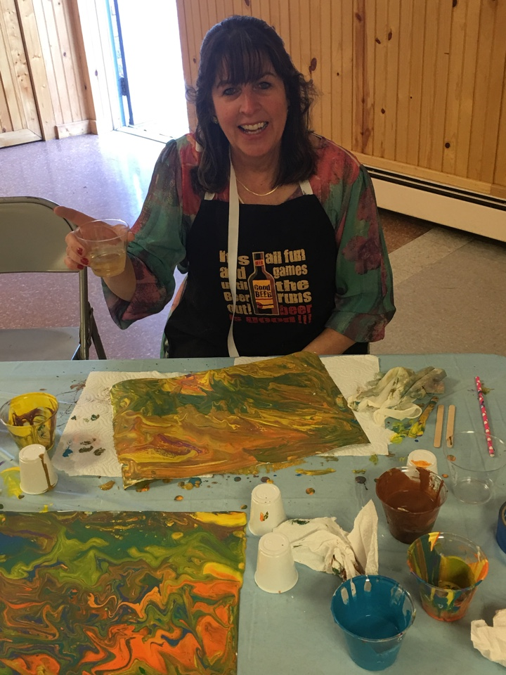 Pour & Paint Party, Barb is have fun