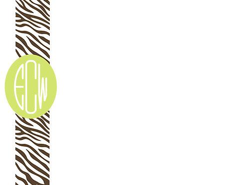 Brown Zebra w/Lime Circle Mono