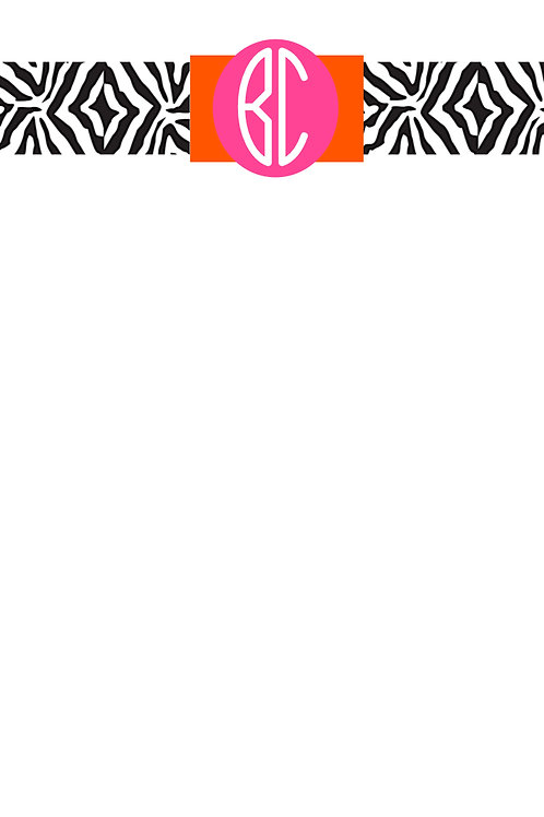 2 Letter Orange & Pink on Zebra