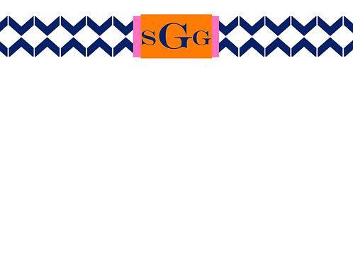 Navy Zig Zag w/Initials