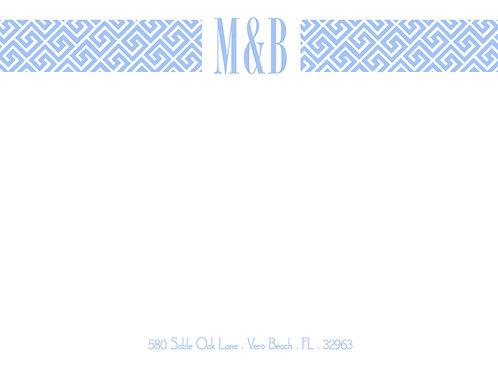 Blue Ikat w/couples initials
