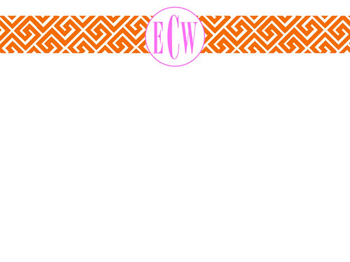 Orange Greek Key w/initials