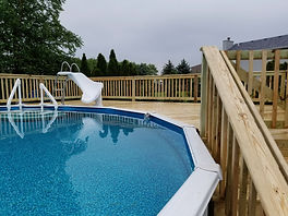 Pressure Treated Wood Above Ground Pool Deck Channahon Illinois
