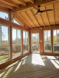 Cedar Pressure Treated Wood Screen Room Sunroom Covered Roof North Aurora Illinois