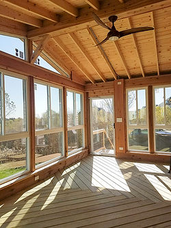 Cedar Pressure Treated Wood Screen Room Sunroom Covered Roof North Aurora Illinois