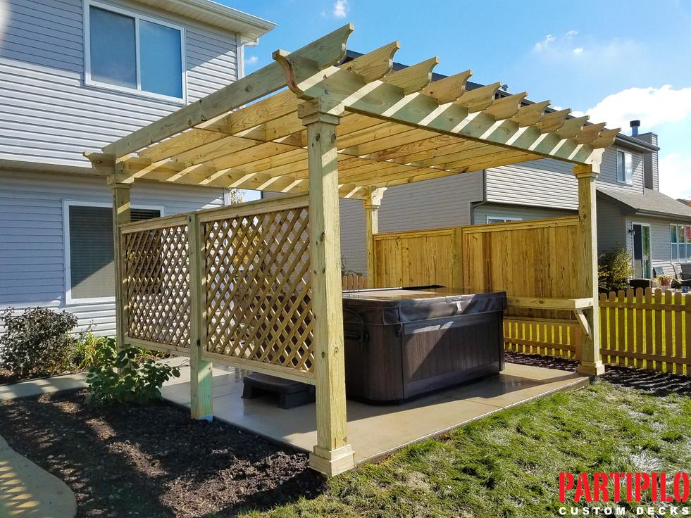 Wood Pergola Hot Tub Enclosure Plainfiel