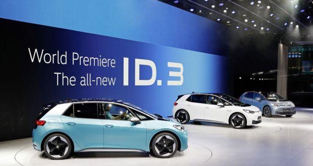 Three VW ID.3 electric vehicles at the Frankfurt Motor Show