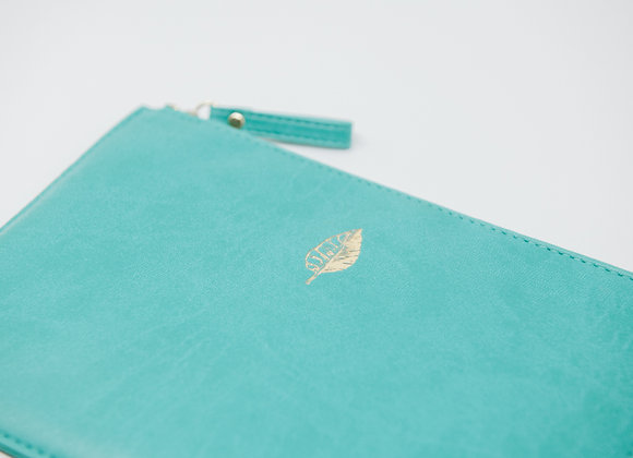 Teal Faux Leather Pouch