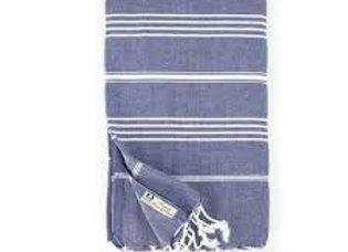 Turkish Classic Striped Peshtemal Dish Towel - Navy