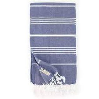 Turkish Classic Striped Peshtemal Dish Towel - Navy