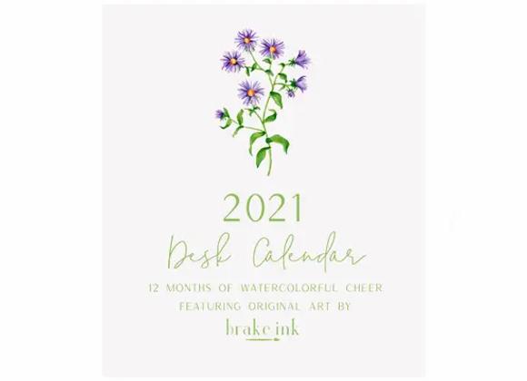 2021 Watercolor Desk Calendar