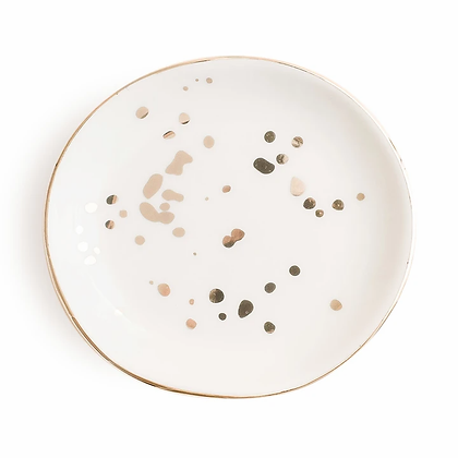 White and Gold Speckled Jewelry/Trinket Dish