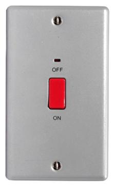 Surface Aluminium Metal Clad 45 amp DP Switch -  2 Gang