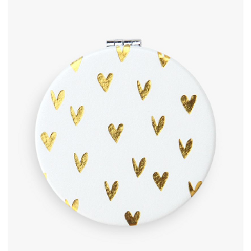 Gold Hearts Pocket Compact Mirror