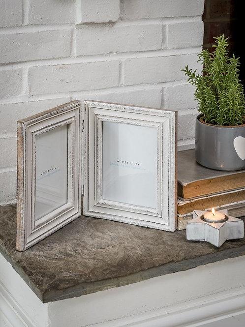 Distressed White Double Photo Frame
