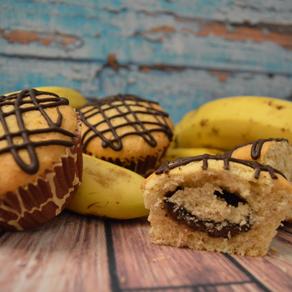 Bananen-Muffins mit Schokoherz