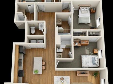 تصاميم ثلاثية الابعاد فلل و شقق دور واحد 3D تنسيق المساحات الداخلية والغرف