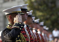 Eight military personnel saluting