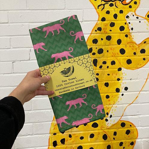Pink Leopards Tea Towel