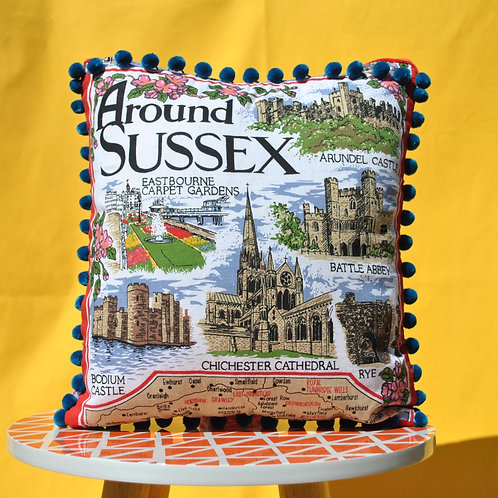 Up - Cycled Tea Towel Cushion - Sussex