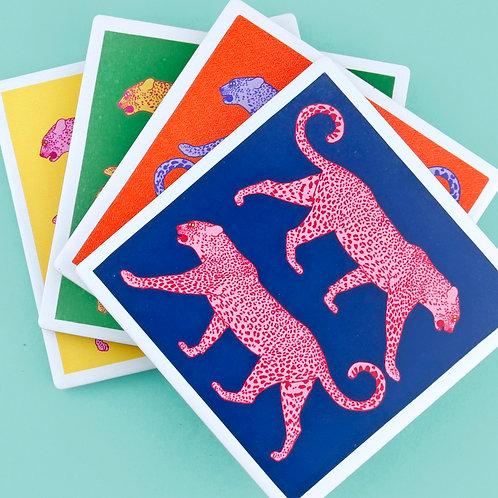 Set of 4 Ceramic Leopard Coasters