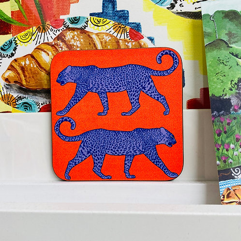Leopard Coaster - Orange