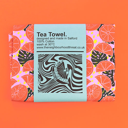 Citrusy Pink Tea Towel