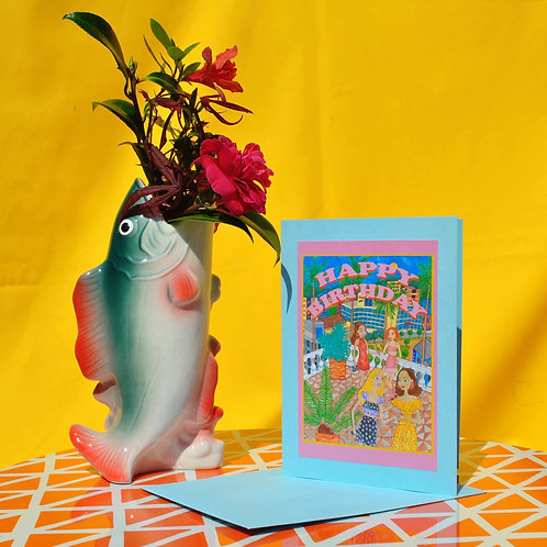 Greeting Card - Birthday on a terrace