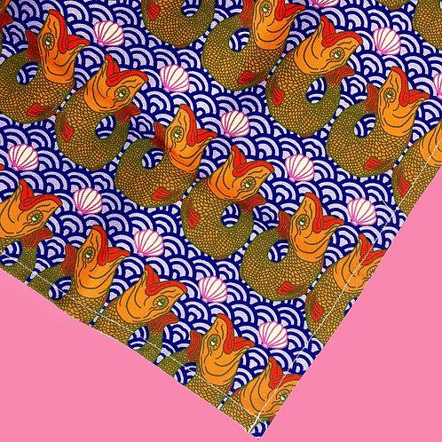 Retro Blue Fish Print Tea Towel