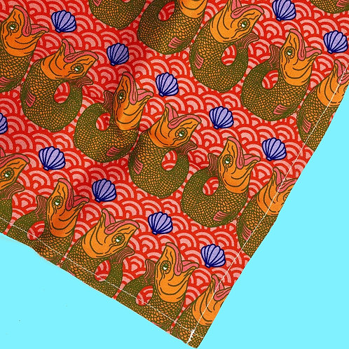 Retro Red Fish Print Tea Towel