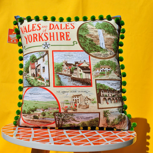 Up - Cycled Tea Towel Cushion - Yorkshire
