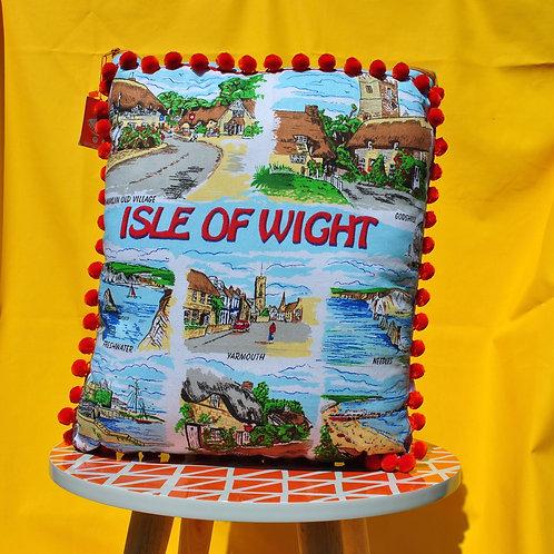 Up - Cycled Tea Towel Cushion - Isle of Wight