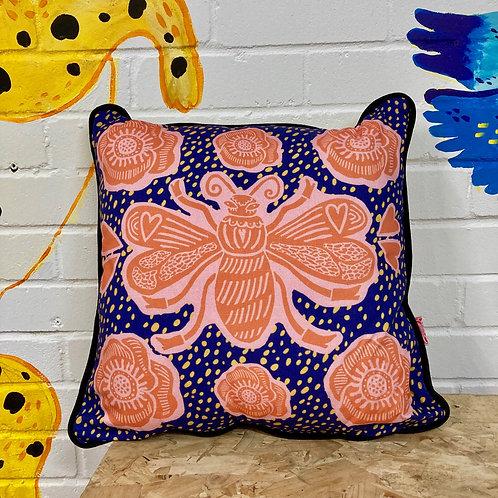 Blue Bee Cushion