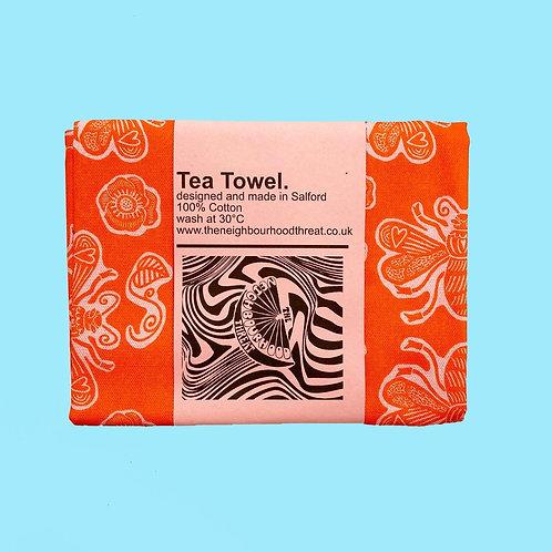 Orange Bee Tea Towel